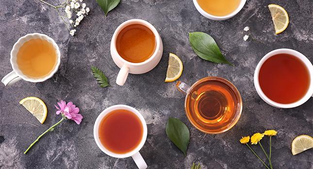 Variedades coloridas de té
